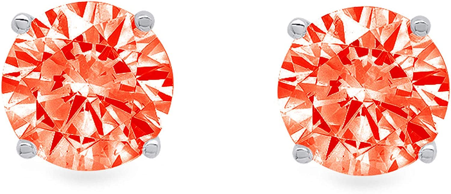 Clara Pucci 1.0 ct Brilliant Round Cut Solitaire VVS1 Flawless Red Simulated Diamond Gemstone Pair of Stud Earrings Solid 18K White Gold Push Back