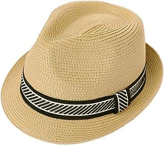 Jeff & Aimy Mens Women Summer Straw Trilby Fedora Vintage Panama Hat Beach