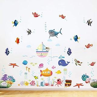 pwsap Bajo el Mar Pegatinas De Pared 2 Hojas, Vinilo Adhesivo Decorativo Animales Tortuga Coral Delfín Pescado Vinilos Decorativos Habitación Infantiles Guardería Niñas Niños Bebés Dormitorios Salón