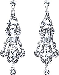 EVER FAITH Austrian Crystal 1920s Art Deco Chandelier Wedding Dangle Earrings Clear