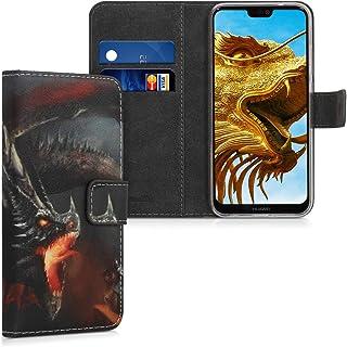 kwmobile Funda Compatible con Huawei P20 Lite - Carcasa de Cuero sintético dragón épico - con Tarjetero