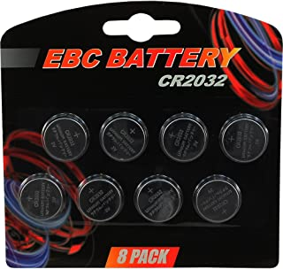 8 Pack EBC CR2032 Battery 220mAh 3 Volt Lithium Battery Coin Button Cell 2023 Expiration Date