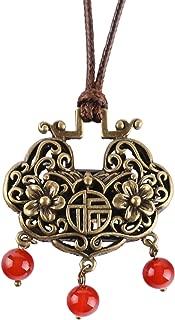 Chinese-Style Retro Long-Life Lock Pendant Metal Bronze Oriental Necklace Blessing Handmade Ethnic Woman Jewelry Girls Girlfriend Wife Daughter Mom Anniversary Birthday