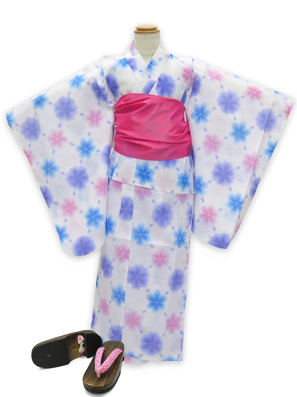 浴衣 こども 女の子 セット 式部浪漫ブランドの女の子浴衣 兵児帯 下駄 3点セット 100「白地 雪 ブルー」SRY10-B17-Pset