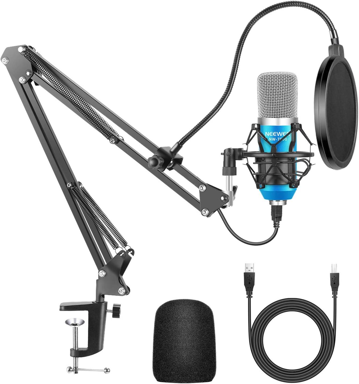 Neewer USB Micrófono para Ordenadores con Soporte de Brazo de Tijera, Montaje de Choque, Filtro de Pop, Cable y Abrazadera de Montaje para Radiodifusión (Azul y Plata)