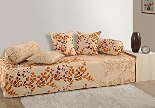 Swayam Cream and Brown Colour Floral Diwan Set with Bolster and Cushion Covers (Set of 6)