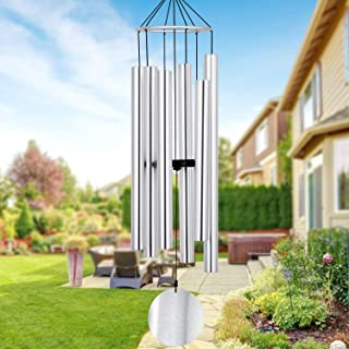 Large Wind Chimes Outdoor Deep Tone, 36 Inch Amazing Grace Wind Chimes with Heavy Tuned Tubes, Elegant Memorial Chime for Mother, Housewarming Gift, Outdoor Decor Silver
