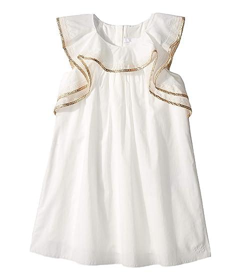 Chloe Kids Dress w/ Gold Braid On Ruffles (Little Kids/Big Kids)