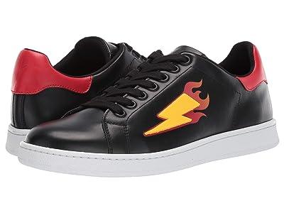 Neil Barrett Thuderbolt Flame Tennis Sneaker (Black/Yellow/White) Men