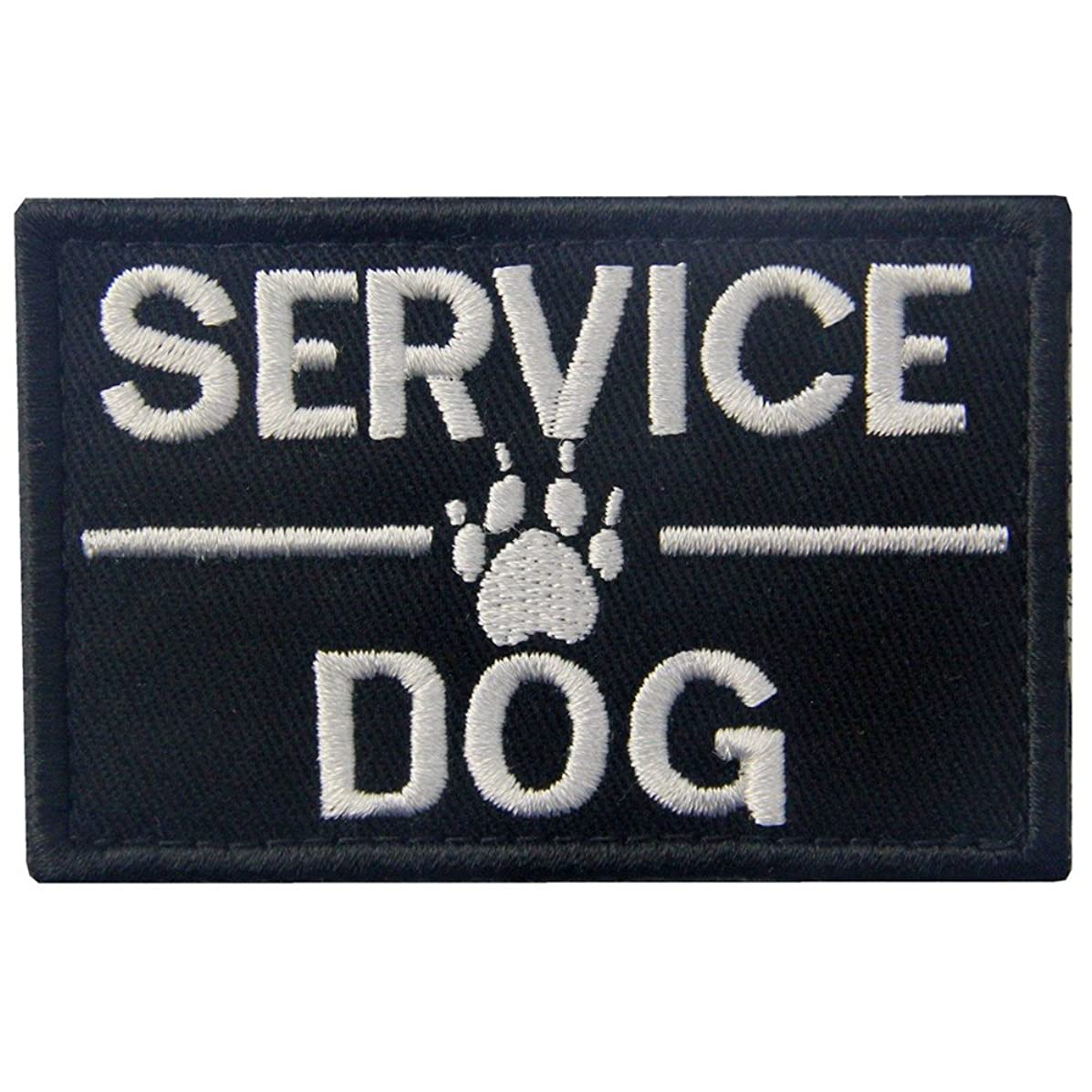 Service Dog with Tracker Paw Embroidered Applique Morale Hook & Loop Patch - White