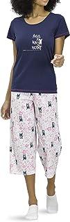 Hue Printed Knit Short Sleeve Tee and Capri 2 Piece Pajama Set Sleepwear
