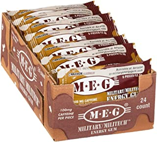 MEG - Military Energy Gum   100mg of Caffeine Per Piece + Increase Energy + Boost Physical Performance + Cinnamon 24 Pack (120 Count)