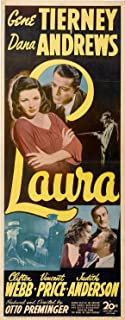 Laura Movie Poster (14 x 36 Inches - 36cm x 92cm) (1944) Insert -(Gene Tierney)(Dana Andrews)(Clifton Webb)(Lane Chandler)(Vincent Price)(Judith Anderson)