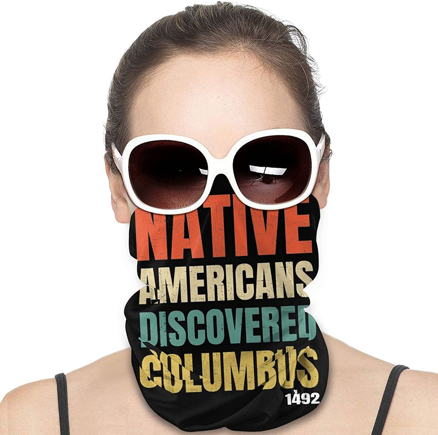 Native Americans Discovered Columbus Round Neck Gaiter Bandnas Face Cover Uv Protection Prevent bask in Ice Scarf Headbands Perfect for Motorcycle Cycling Running Festival Raves Outdoors