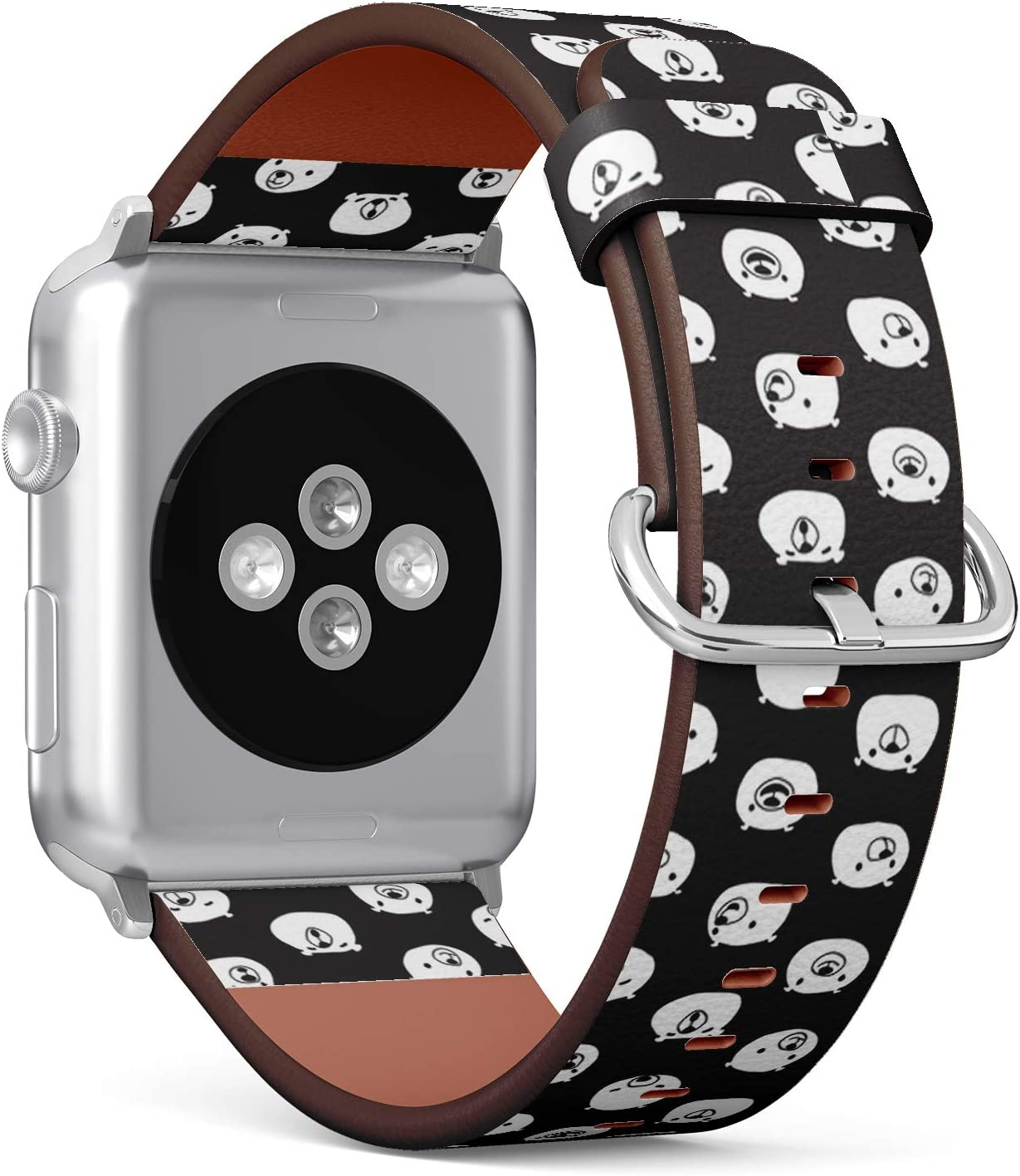 Compatible with Apple Watch Series 6/5/4/3/2/1 (Big Version 42/44 mm) Leather Wristband Bracelet Replacement Accessory Band + Adapters - Bear Face Teddy Polar