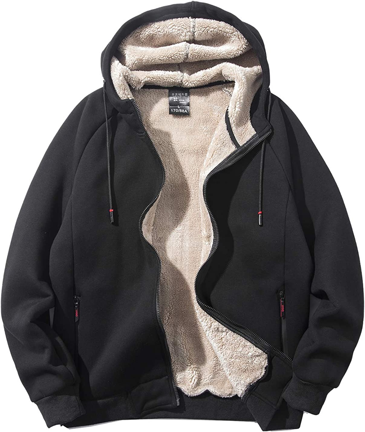 PEHMEA Men's Thickened Fleece Hoodie Lined Sherpa All items in the store Full-Zip Sweat Colorado Springs Mall
