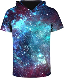 Unisex 3D Printed Pullover Sweatshirt Hoodie Short Sleeve Casual T Shirt Galaxy Space Creative Graphic Hooded Shirts