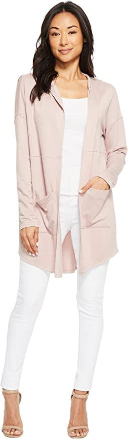American Rose - Audrey Pocketed Fleece Cardigan with Hood