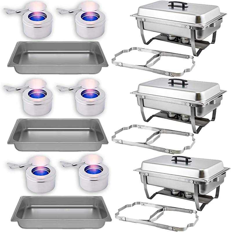 Chafing Dish Buffet Set With Folding Frame Water Pan Food Pan 8 Qt 6 Fuel Holders 3 Full Warmer Kit