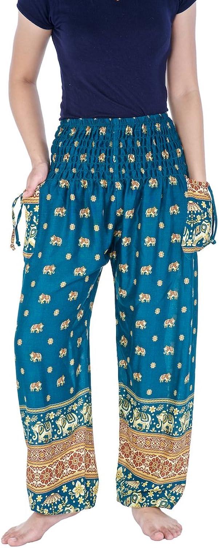 Lannaclothesdesign Women's Elephant Mandala Harem Pants S M L XL XXL Size (XL, Teal Small gold Elephant)
