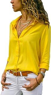 flywinner Women's Short Sleeve Plain Turn Down Button Up Shirts