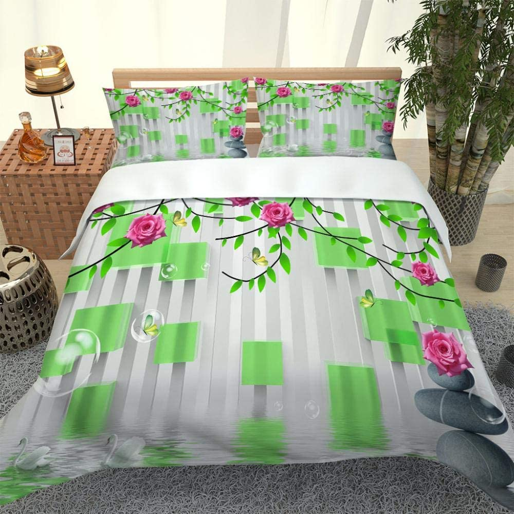 DRFQSK Duvet Our shop OFFers the best service Cover Queen Size Sale 3 Green Flower V Checkered Pieces