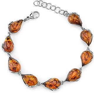 Baltic Amber Bracelet Sterling Silver Cognac Color Tear Drop Shape