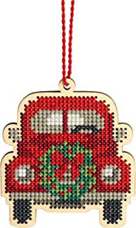 Dimensions 72-76058 Counted Cross Stitch, Vintage Truck Wooden Christmas Ornament Craft Kit, 1 Pc