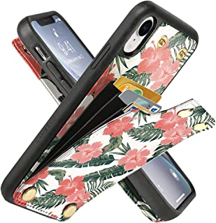 LAMEEKU Wallet Case for iPhone XR 6.1'', Rainforest Design Pattern Case with Credit Card Holder Slot Money Pocket, Shockproof Protective Bumper Cover for iPhone XR - Rainforest Pink Flower