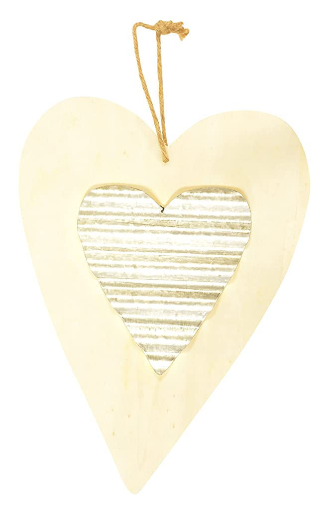 Darice 9191-0044 Unfinished Wood Heart with Corrugated Metal