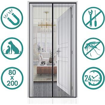 HYISHION Moustiquaire de Porte Magn/étique Fermeture Automatique Rideau Porte Anti Insectes avec Aimants et Bande Adhesive sans Per/çage,Noir,80 200cm
