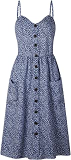 OCHENAT Women's Floral Spaghetti Strap Midi Dress Button Front with Pockets