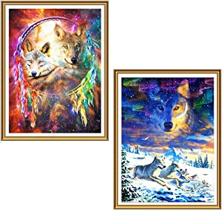Ginfonr 5D DIY Diamond Painting Full Drill Dreamcatcher Wolf & Arctic Wolf by Number Kits for Adults, Aurora Embroidery Rhinestone Paint with Diamonds Art Cross Stitch Craft (12 x 16 inch, 2 Pack)