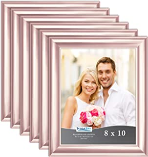 Icona Bay 8x10 Picture Frame (Rose Gold, 6 Pack), Rose Gold Photo Frame 8 x 10, Wall Mount or Table Top, Set of 6 Elegante Collection