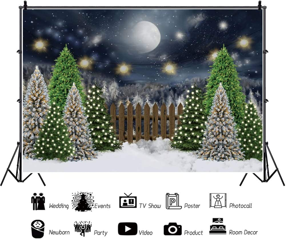OERJU 12x10ft Merry Christmas Backdrop Xmas Tree Moon and Sun Christmas Party Photography Background Happy Xmas Party Banner Birthday Party Decor Baby Shower Party Supplies Xmas Event Props