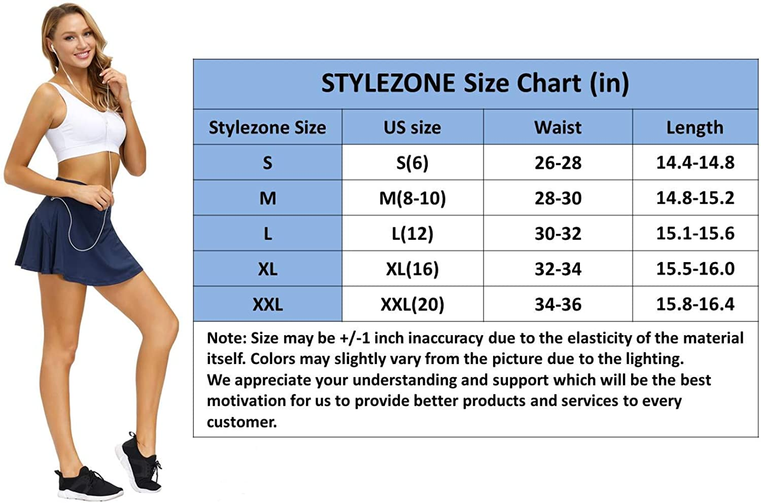 STYLEZONE Athletic Tennis Skirt Sports Skirt for Women with Pockets Womens Active Athletic Sports Skorts