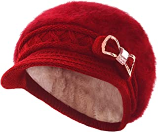 Lady Crystal Bow Warm Cabled Angora Knit Winter Beanie Crochet Beret Hats Newsboy Caps