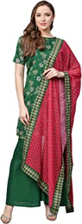 Ahalyaa Women Green & Pink Printed Kurti with Gharara & Dupatta