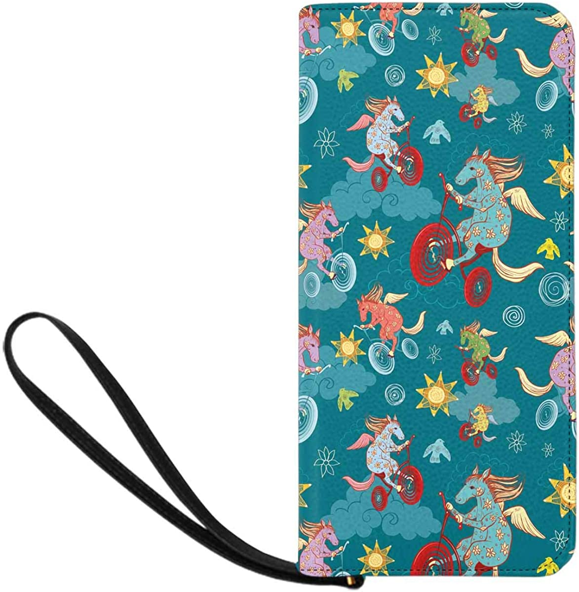 INTERESTPRINT Geometric Unicorn Bicycle Clutch Purse for Women Evening Party