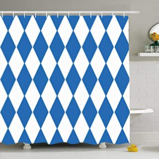 Ahawoso Shower Curtain 60x72 Inches German Blue Bavaria Oktoberfest Checkered Bavarian Germany Pattern Argyle Bayerisch Bayern Waterproof Polyester Fabric Bathroom Curtains Set with Hooks
