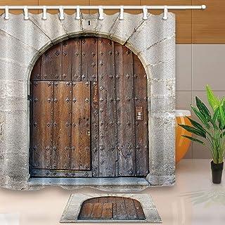 GzHQ Cortina ducha tela poliéster resistente al moho para puerta barbacoa con arco madera y hierro oxidado con diseño rústico granja vieja y antideslizante franela 40x60cm
