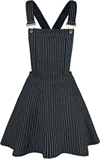 Mini Vestido Tipo Pichi a Rayas Over It All - Negro