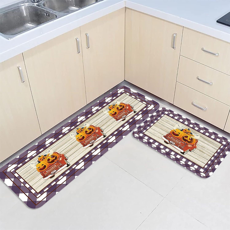 2 Pieces Kitchen Mats Ultra-Cheap Deals Floor online shop Area Happy Doormat Non-Slip Set Rug
