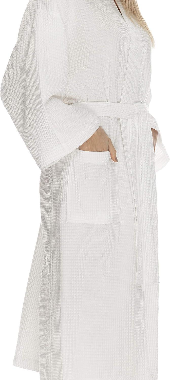 Waffle Robe by BOCA TERRY, Women's Knit Waffle Spa Robe, Long Cotton Kimono Hotel Bathrobe