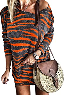 YEMOCILE Women's Striped Long Sleeve T-Shirt Off The Shoulder Sexy Casual Tops Blouse Dresses
