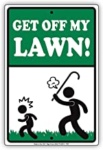 LOHIGHH Get Off My Lawn! Aluminum Metal Sign Grass Property Home 8