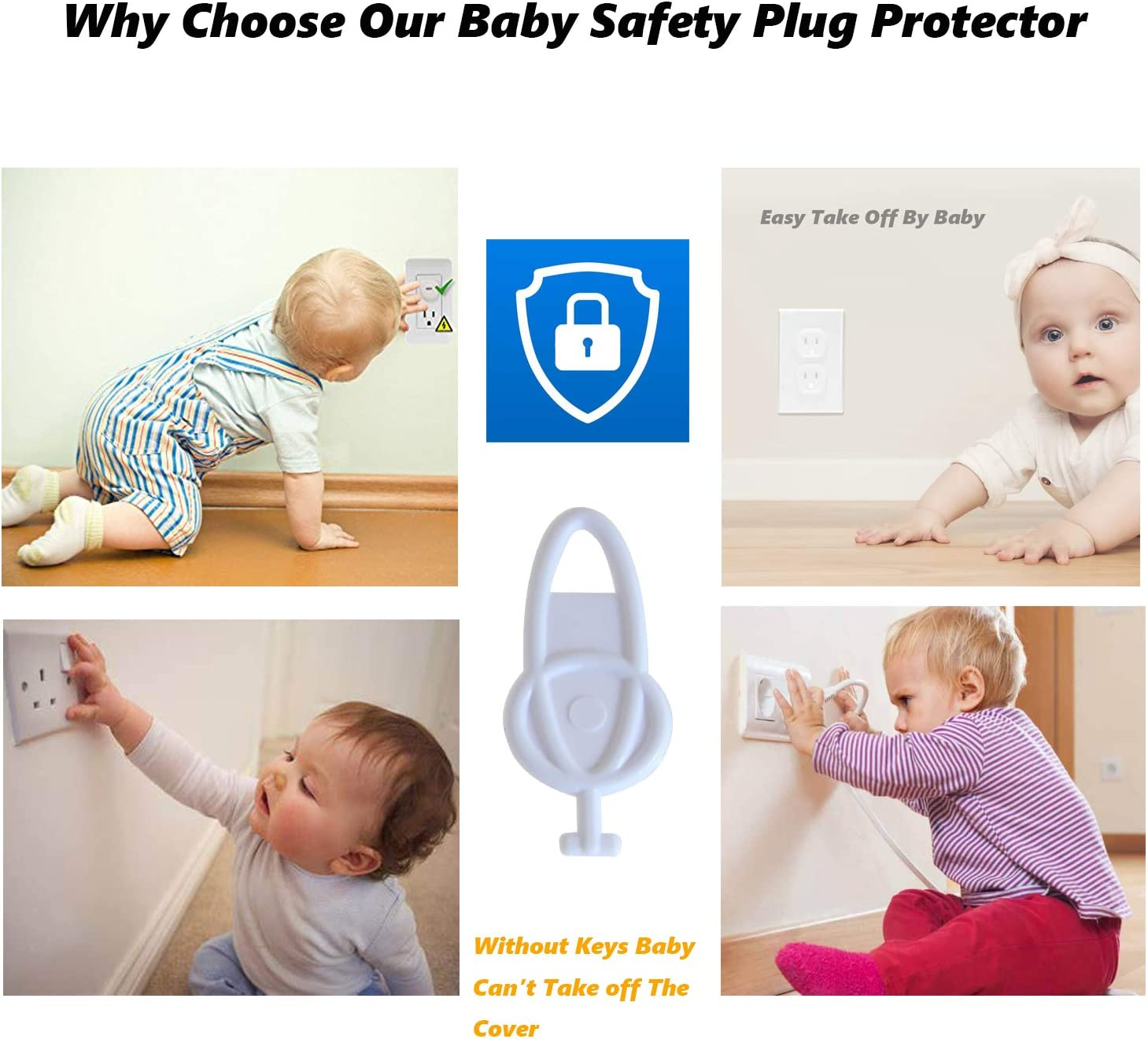 GDTLTP 40 Pack Outlet Plug Covers Baby Proof, Protect Children's Safety, Prevent Electric Shock, Baby Proofing Electric Protector Plug Covers Kit (18 Three Prongs & 18 Two prongs & 4 Keys)