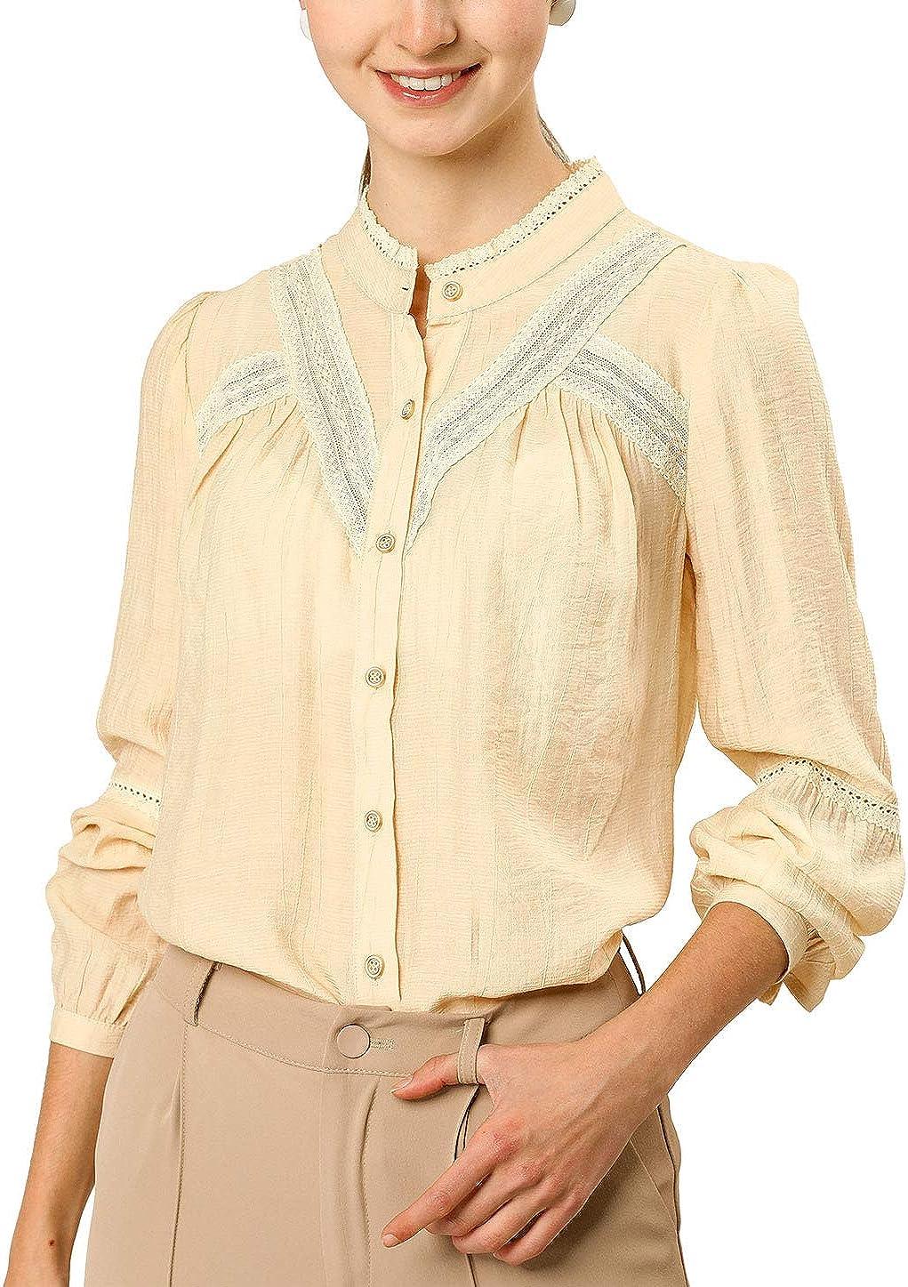 Allegra K Women's Spring Long Sleeve Blouse Boho Casual Button Down Shirt