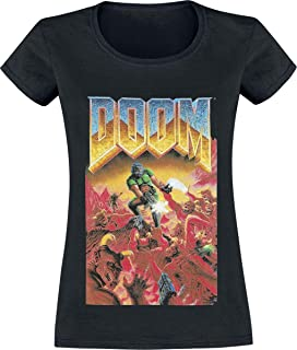 DOOM Classic Boxart Donna T-Shirt Nero Regular