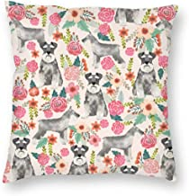 Pillowcases Schnauzer Floral - Cute Dogs and Florals Design -Cream for Sofa Bedroom livingroomTwo Sides Printing 18x18 inch